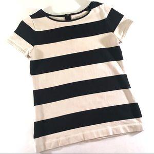 LOFT Navy & Cream Striped Short Sleeved Cotton Top